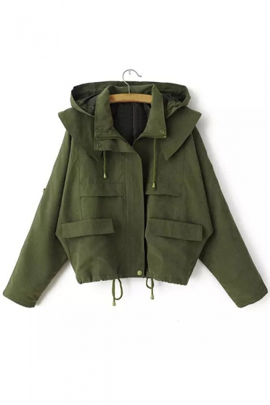 Trench Natural Hooded Loose with Pockets Sleeves Long Zippered Waist Drawstring Coat 0Zxw4qZ71