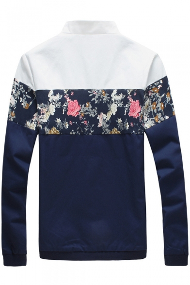 New Stylish Stand-up Collar Color Block Floral Print Long Sleeves Zip Up Jacket