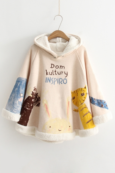 New Trendy Letter Cartoon Animal Print Warm Hooded Poncho