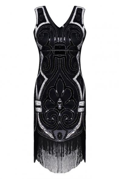 Radiant V-Neck Sleeveless Sequined Tasseled Beaded Mini Bodycon Tank Dress