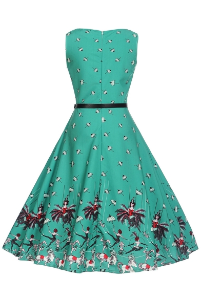 Retro Umbrella Print Round Neck Sleeveless Fit & Flare Midi Dress