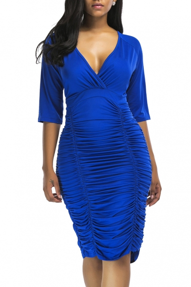 Sexy Plunge Neck Half Sleeves Ruched Hem Bodycon Midi Plain Dress