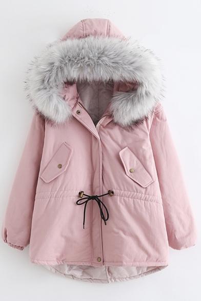 Simple Plain Faux Fur Hem Hooded Long Sleeve Zip Up Coat