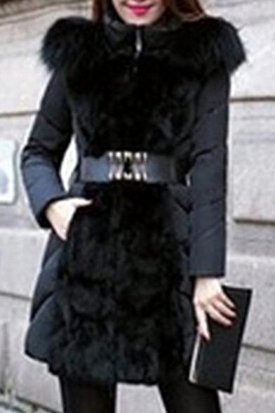 Long Sleeve Tunic Faux Hooded Fur Simple Coat Plain vXIOnxqXPw