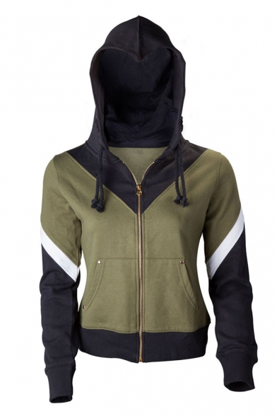 Symbol Zippered Printed Color Pockets Long Sleeves Wing with Block Hoodie Sportive wnq640xEIx