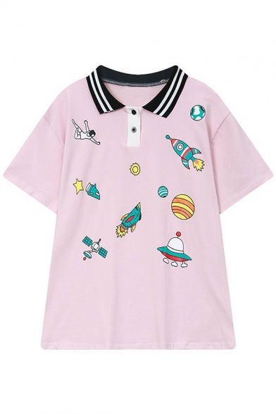 Tee Spacecrafts Sportive Polo Buttons Pattern Double Short Collar Sleeves Striped qzaO16