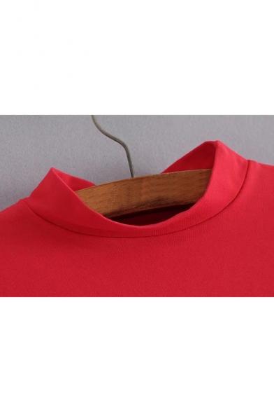 Cropped Long Color Sweatshirt Sleeve Print Stylish Block Pullover nqXwxtwdp