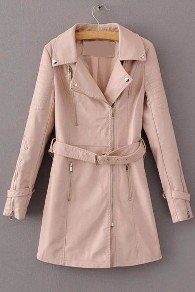 Warm Notched Lapel Long Sleeves PU Patched Zippered Longline Coat with Pockets