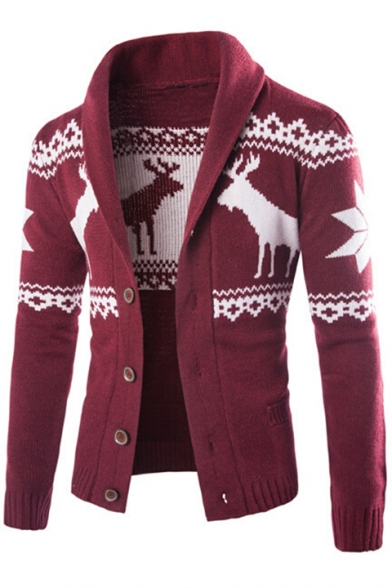 Sleeves Pattern Collection Button Deer Winter's Lapel Down Long Pockets with Cardigan Ethic xq1B7X87