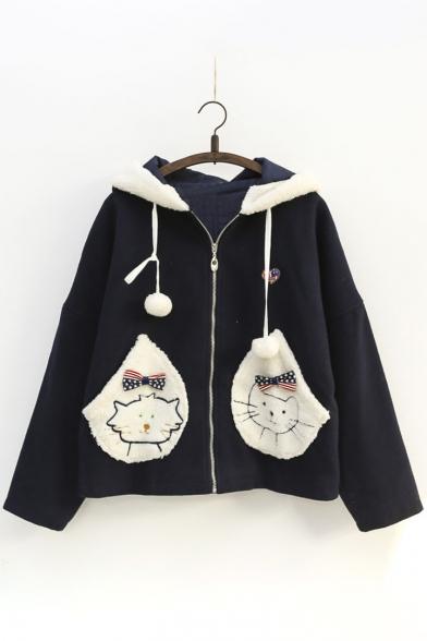 Cartoon Cat Pattern Zip Up Long Sleeve Hooded Coat with Pom-Pom