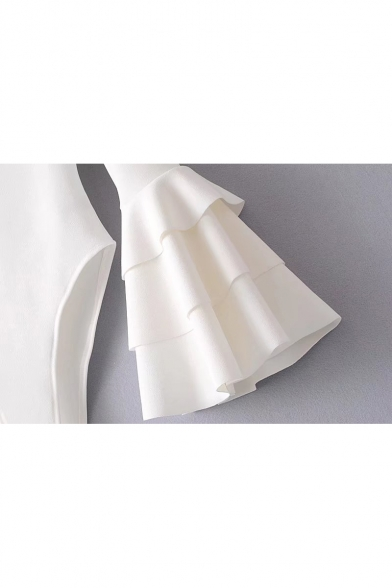 Sleeve Ruffle Long Cuffs Plain Layered Chic Neck Bodysuit Boat qBgSOwz