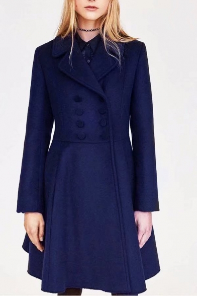 Chic Simple Plain Notch Lapel Long Sleeve Trench Coat