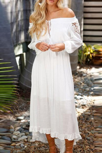Chic Simple Plain Off The Shoulder Hollow Out Long Sleee Shift Maxi Dress