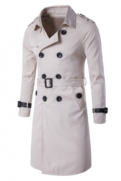 Long Belted Lapel Coat Classic Sleeves Trench Breasted Waist Notched Double xvwIS