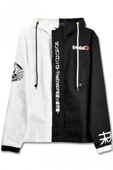 Jacket Concealed Sleeves Color Japanese Zippered Cool Block Hooded Long Characters Drawstring Printed n7CYq0Pw