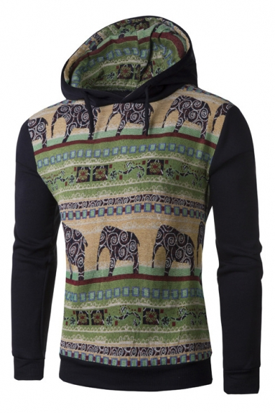 Pullover Pattern Sleeves Block with Hoodie Long Color Drawstring Elephant Ethic ZvqO5SwYWF
