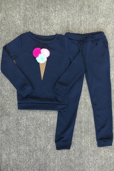 Fashion Print Pom-Pom Print Long Sleeve Sweatshirt Leisure Co-ords