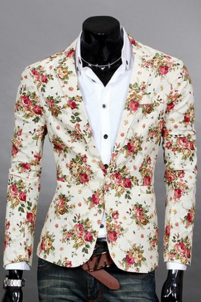 Floral Single Blazer Fashionable Back Lapel Long Print Button Sleeve Notch Split Eqw1Cdw