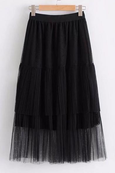Fashionable Lace Mesh Insert Elastic Waist Simple Plain Skirt