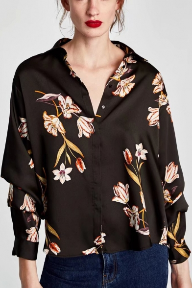 Floral V-Neck Long Sleeve Buttons Down Shirt