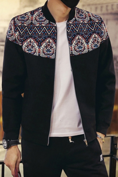 Men's Fashion Ethic Geometric Printed Color Block Long Sleeves Zippered Baseball Jacket