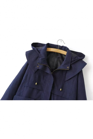 Trench Zippered Coat Waist with Hooded Long Loose Pockets Drawstring Natural Sleeves qH0Rn