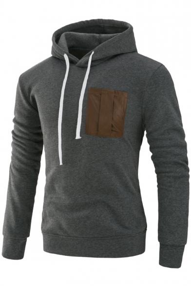 New Fashion Color Block Print Drawstring Hood Long Sleeve Hoodie