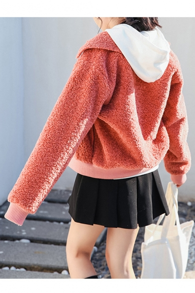 Plain Simple Coat Long Zipper New Stylish Lapel Warm Sleeve WHYwHqpnU