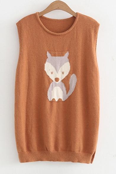 New Trendy Cartoon Fox Pattern Round Neck Vest Pullover Sweater