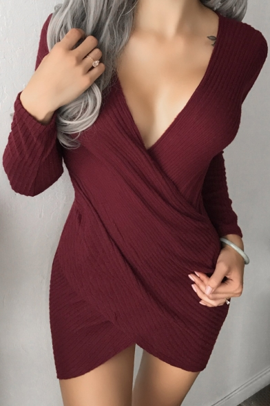 Sexy Plunge Neck Long Sleeve Wrapped Asymmetric Hem Bodycon Dress