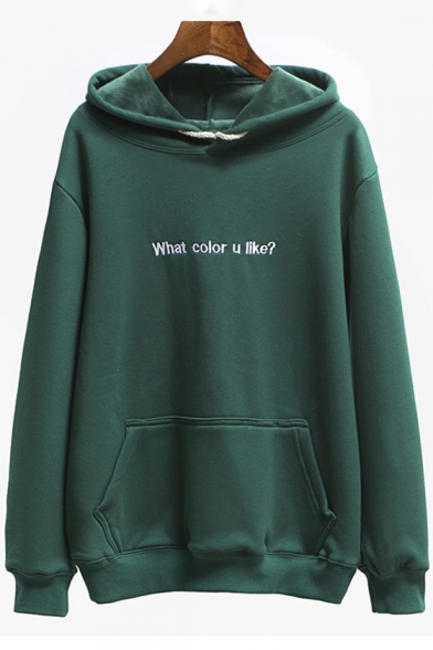 Pocket Simple Sleeves Pattern with Letter Hoodie Pullover Long xvx0Tn