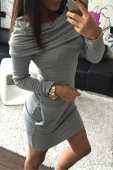 Simple Plain Cowl Neck Long Sleeve Bodycon Hoodie Mini Dress