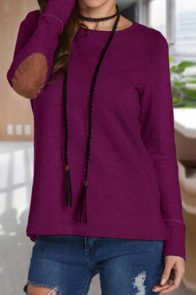 Simple Elbow Patchwork Tee Neck Sleeve Plain Long Round zqrWwUzPp