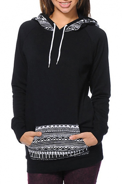Pocket Pullover with Long Pattern Hoodie Stylish Geometric Sleeves AqWp40KwH
