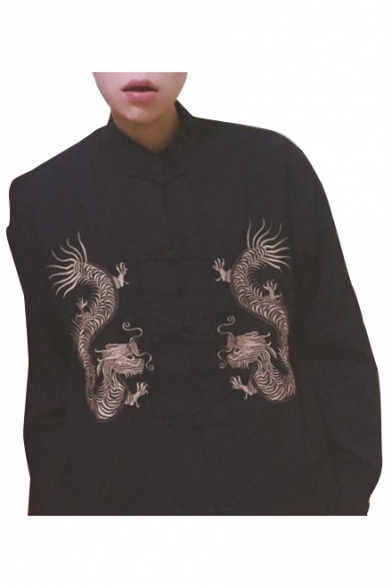 Traditional Chinese Suit Single-Breasted Stand-up Collar Long Sleeves Dragon Embroidered Jacket