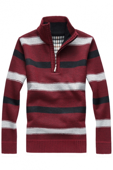 Pullover Long Sleeves Sweater Warm Striped up Collar Color Stand Block AxY8qYzZ4