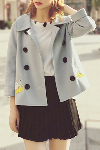 Butterfly Embroidered Notch Lapel Long Sleeve Buttons Down Jacket