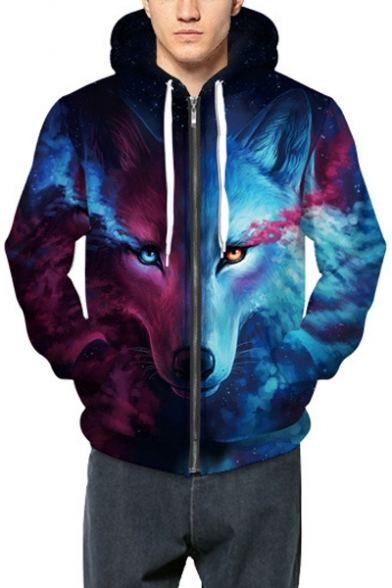 Casual Contrast Wolf Pattern Long Sleeves Zippered Hoodie with Pockets