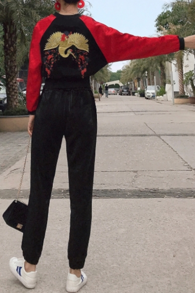 Chic Animal Embroidery Collar Color Block Long Sleeve Zipper Placket Coat Elastic Waist Plain Pants Sports Co-ords