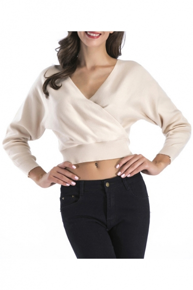 Chic Long Sleeve Wrap Front Simple Plain Cropped Pullover Sweater