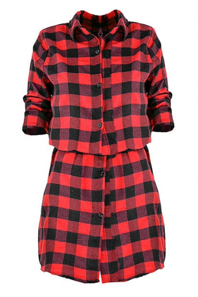 Chic Plaid Lapel Single Breasted Tie Waist Long Sleeve Mini Shirt Dress