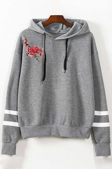 Loose Sleeves Pullover Fancy Striped Hoodie Floral Embroidered Long YOHfO