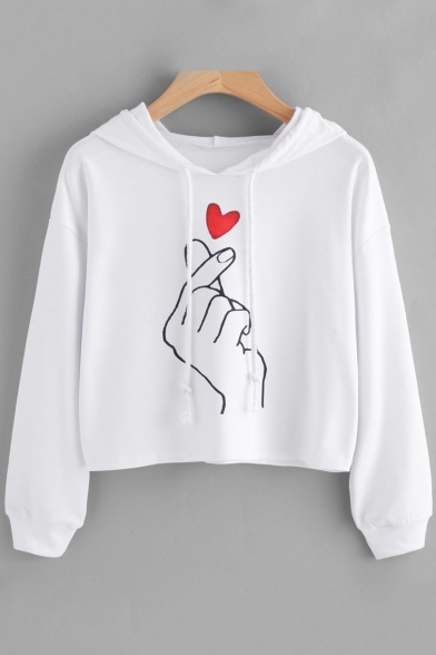 Pullover Long Fancy Drawstring Hoodie Cropped Sleeves Sweetheart Hand with Pattern qTF6HwOF