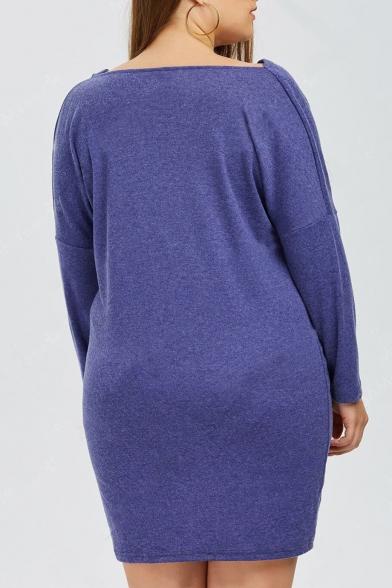 Fashion Letter Christmas Elk Print Long Sleeve Loose Mini Dress