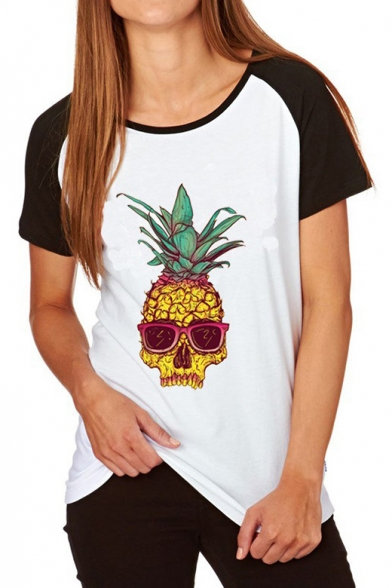 Round Pineapple Tee Fashion Neck Short Print Sleeve Skull UXqTv