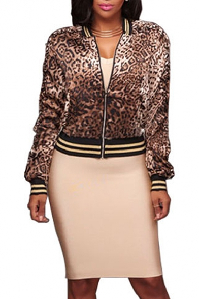 Hot Fashion Leopard Striped Print Long Sleeve Stand-Up Collar Zipper Jacket