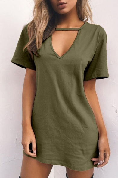 Hot Fashion Simple Plain V-Neck Short Sleeve Mini Dress