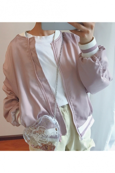 Letter Embroidered Long Sleeve Stand-Up Collar Zip Up Baseball Coat
