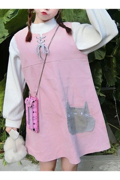 Lovely Cat Patchwork Round Neck Shift Mini Tank Dress