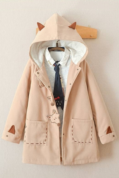 Lovely Fox Embroidered Long Sleeve Buttons Down Woolen Coat